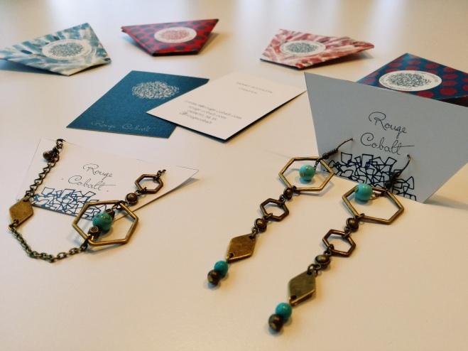 Hexagones - Boucles (28€) ; Bracelet( 22€)